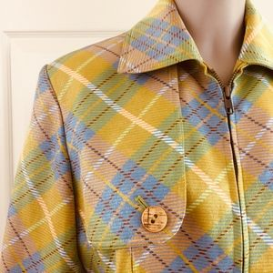 John Galliano Jackets & Coats - John Galliano Paris zip front jacket shimmer plaid